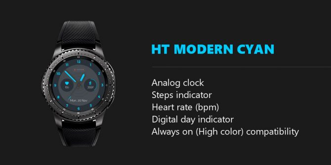 cyan watch face features