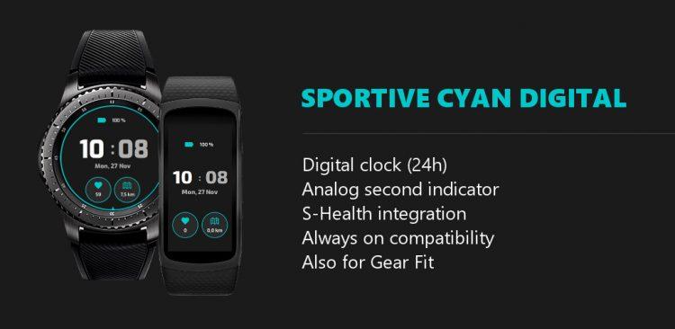 sportive cyan digital watch face